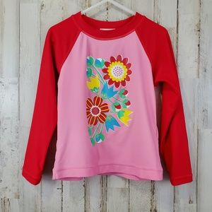 Hanna Andersson Girls Top Pink Red Floral Rash Gua